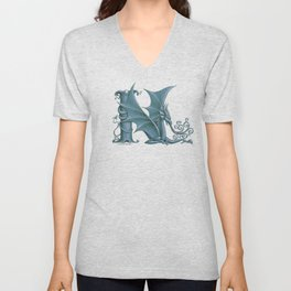 """Dragon Letter N, from """"Dracoserific"""", a font full of Dragons Unisex V-Neck"""