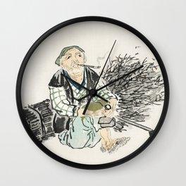 Smoking farmer with branches by Kono Bairei (1844-1895) Wall Clock