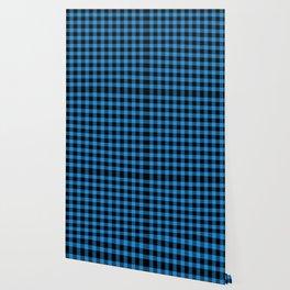 Dodger Blue  Bison Plaid Wallpaper