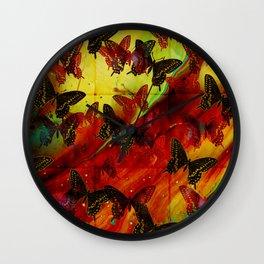 Butterflies Abstract mixed media digital art collage Wall Clock