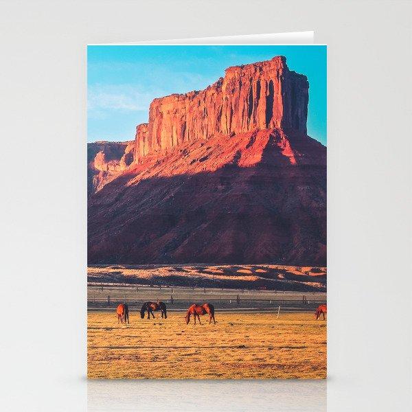 Horses with Desert Vista in Morning Light, Vintage Stationery Cards