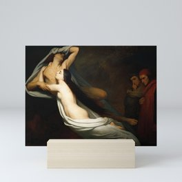 Dante and Virgil Encountering the Shades of Francesca de Rimini and Paolo in the Underworld Mini Art Print