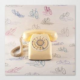 The yellow retro telephone  Canvas Print