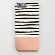 Peach x Stripes iPhone 6s Slim Case