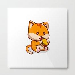 Cute Cat Eating Burger Cartoon Icon Illustration Animal Food Icon Concept Isolated Flat Cartoon Styl Metal Print