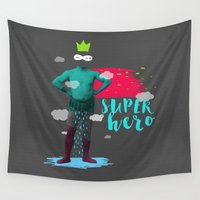 super hero Wall Tapestries featuring SUPER HERO by SNEP