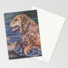 Golden Retriever dog art   from an original painting by L.A.Shepard Stationery Cards