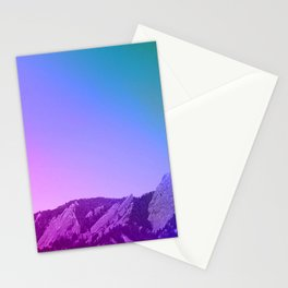 Boulder Colorado Flatirons Decor \\ Chautauqua Park Purple Pink Blue Green Nature Bohemian Style Art Stationery Cards