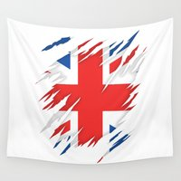 uk Wall Tapestries featuring Torn Flag UK by leondesigns