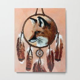 Fox Medicine Wheel Metal Print