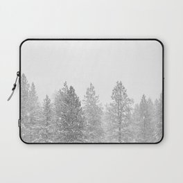 Snow Day // Black and White Winter Landscape Photography Snowing Whiteout Blizzard Laptop Sleeve