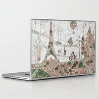paris map Laptop & iPad Skins featuring Paris Map by Paula Belle Flores