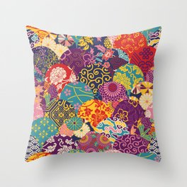 Japanese Wave Seigaiha Seamless Patterns Symbols Throw Pillow