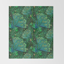 Peacocks in Emerald Forest Throw Blanket