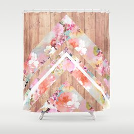 Vintage floral watercolor rustic brown wood geometric triangles Shower Curtain