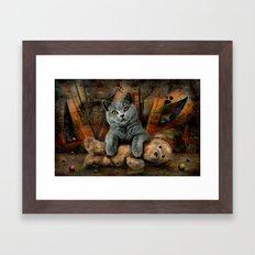 Cat Diesel with teddybear ! Framed Art Print