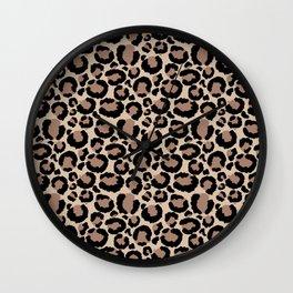 Tan Leopard Print Wall Clock