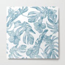 Gorgeous Blue Tropical Leaves + Flowers Metal Print