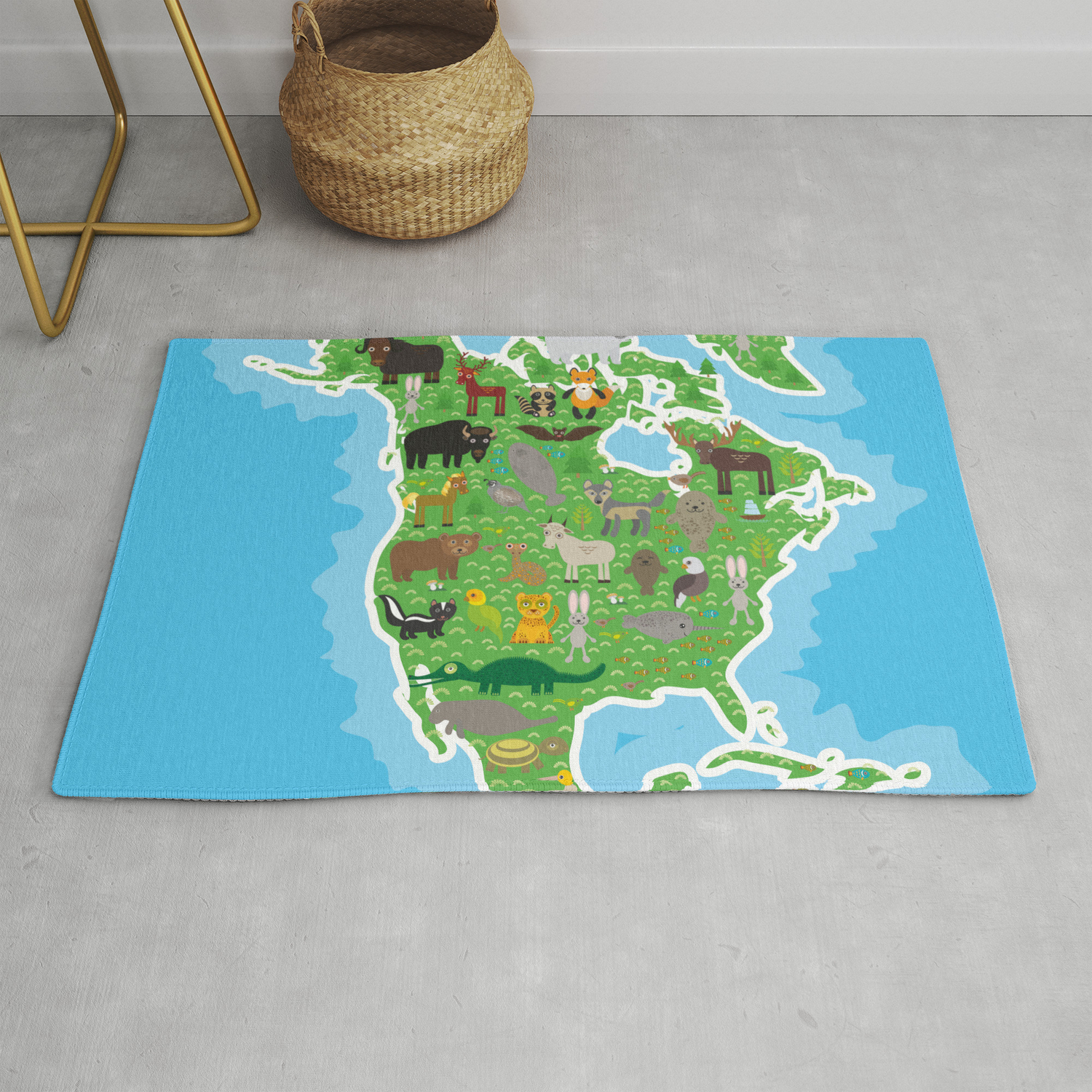 Map Of North America With Animals Bison Bat Manatee Fox Elk Horse Wolf Partridge Seal Polar Bear Rug By Ekaterinap Society6