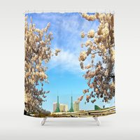 portland Shower Curtains featuring Portland Hanami by Casey J. Newman
