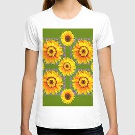 GEOMETRIC SUNFLOWERS AVOCADO-GREEN ART T-shirt