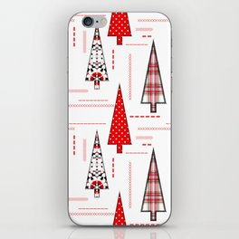 Seamless christmas applique patchwork pattern iPhone Skin