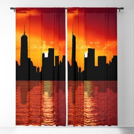 skyline new york city sunset dusk Blackout Curtain