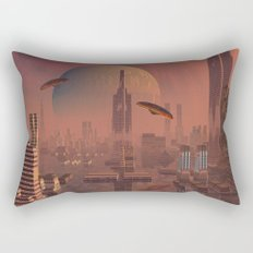 Futuristic City with Space Ships Rectangular Pillow
