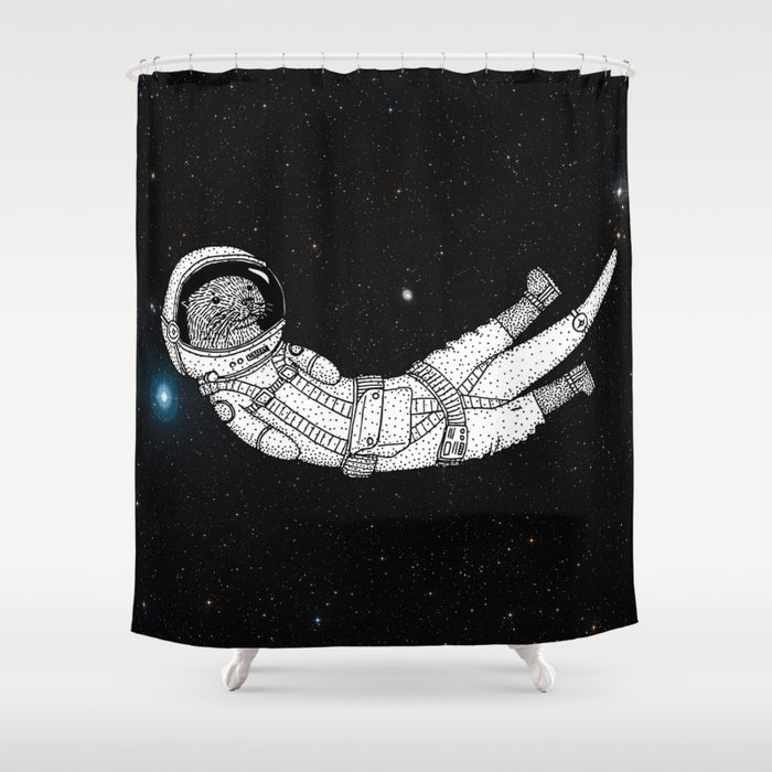 André Floating Around in Otter Space Shower Curtain