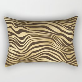 Glam Gold and Brown Zebra Print Rectangular Pillow