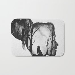 All in her Head in black and white Bath Mat