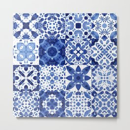Indigo Watercolor Tiles Metal Print