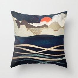 Midnight Beach Throw Pillow