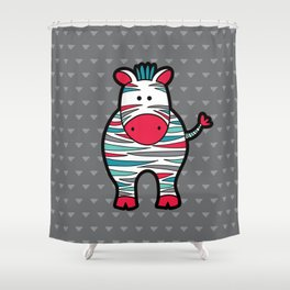 Doodle Zebra on Grey Triangle Background Shower Curtain