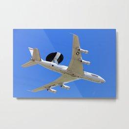 US Air Force AWACS fly over Metal Print