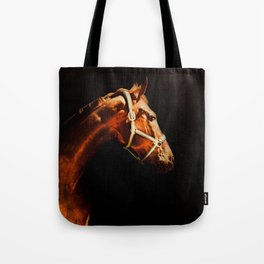 Horse Wall Art, Horse Portrait Over a Black background, Horse Photography, Closeup Horse Head Tote Bag