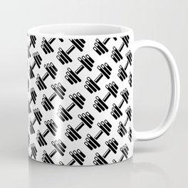 Dumbbellicious / Black and white dumbbell pattern Coffee Mug