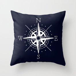 Navy Nautical - White Compass Throw Pillow