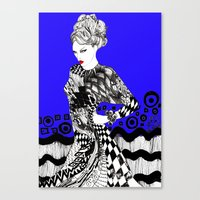 her art Canvas Prints featuring Her by Modemakaren