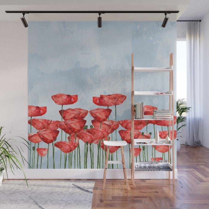 Poppyfield poppies poppy blue sky - watercolor artwork Wall Mural