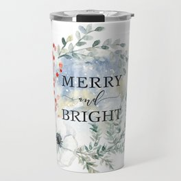 Merry and bright. Christmas wreath Travel Mug