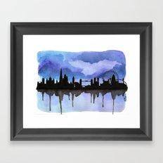 London Skyline 2 Blue Framed Art Print