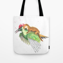 Weasel Rides Woodpecker  Tote Bag