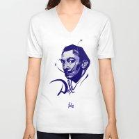 salvador dali V-neck T-shirts featuring Salvador Dali by Henri Fdz