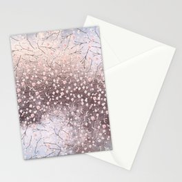 Shiny Spring Flowers - Pink Cherry Blossom Pattern Stationery Cards