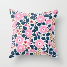07 Floral pattern. White background. Pink flowers. Throw Pillow