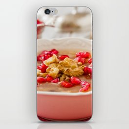 Turkish dessert Ashura, Noah's pudding, with pomegranate seeds and walnuts iPhone Skin