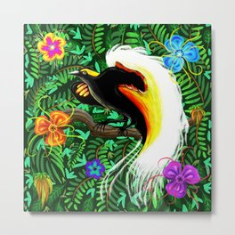 Paradise Bird Fire Feathers Metal Print