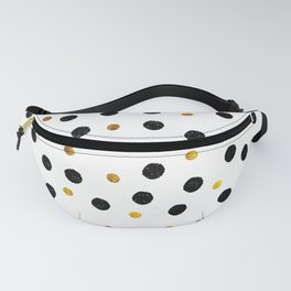 Black & Gold Glitter Confetti on white background- Elegant pattern Fanny Pack