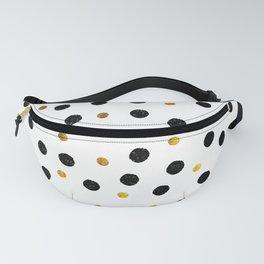 Black & Gold Glitter Confetti on white background- Elegant pattern Fanny Pack